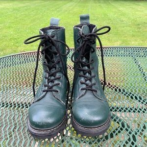 MIA Soft Green Leather Combat Boots, Size 7